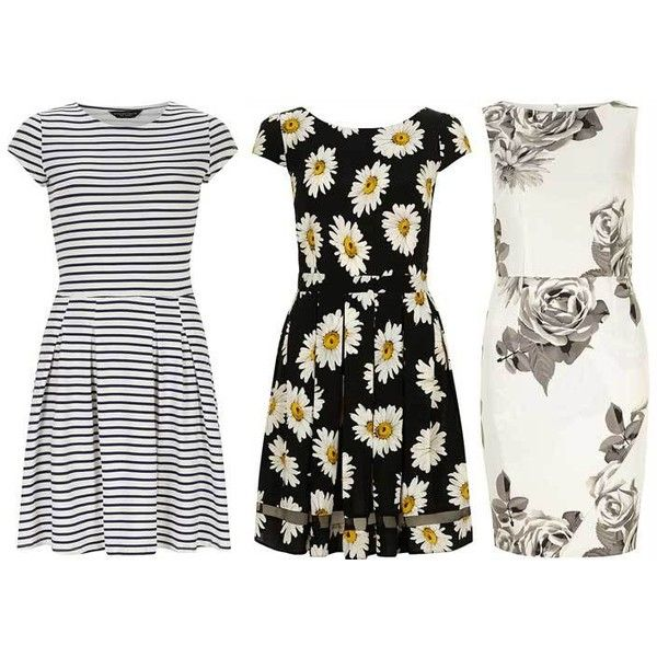 Summer dresses ❤ liked on Polyvore featuring dresses, day summer dresses, white floral print dress, white polka dot dress, stripe dresses and white striped dress