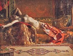Benjamin Constant (1845-1902) - Odalisque Allongée - Jean-Joseph Benjamin-Constant was a French painter and etcher best known for his Oriental subjects and portraits.