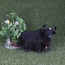 Simulation Fur Black Cow  Animals Spanish Bullfight Toy Cow Figurine