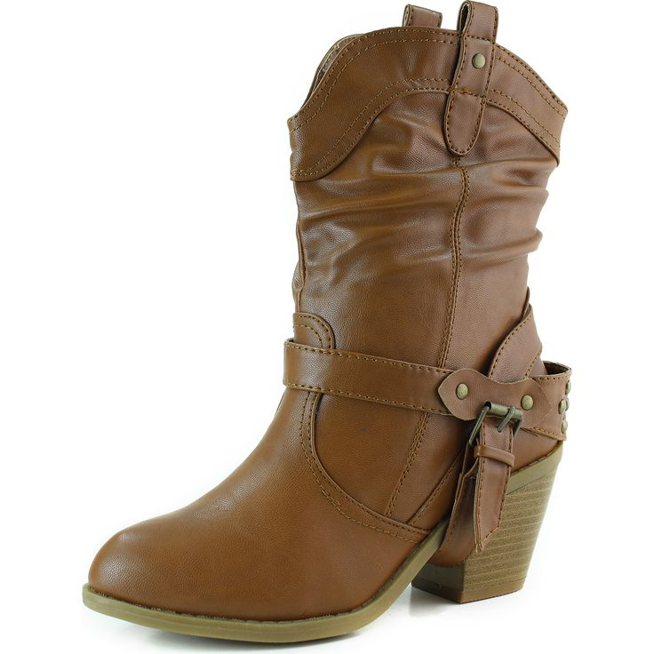 Women's Comfy Round Toe Ankle High Back Zip Medium Chunky Heel Woven Western Boots