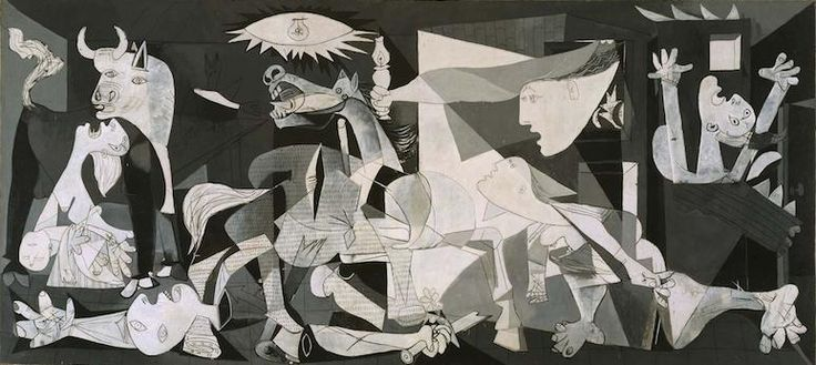 """Dive-bomber, they used them on the Spanish, Guernica and that"". --- Chap. 36, pp. 307.  Pablo Picasso, Guernica, 1937, oil on canvas, 349 cm × 776 cm. (Museo Reina Sofia, Madrid)"