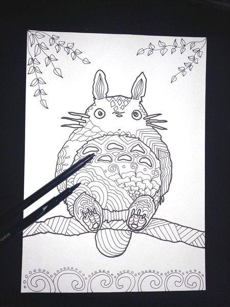 Pennarello - disegno da colorare ispirato a totoro fan art - un prodotto unico di LaSoffittaDiSte su DaWanda