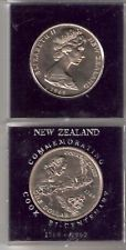 NEW ZEALAND $1 COIN World Money Currency Cook Bi-Centenary 1769-1969 In Case