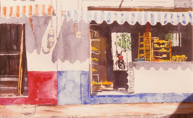 "puerto vallarta - sunny day shops 3 - micheal zarowsky - 10"" x 18""   watercolour on arches paper"