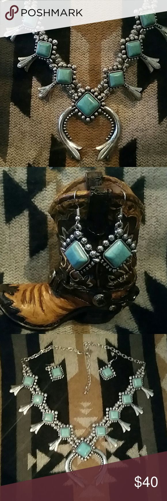 LARGE SILVERTONE TURQUOISE Squash Blossom Set Silvertone metal with genuine turquoise. The pendant is large and measures 2 inches by 2 Inches. While this is not the higher price Squash Blossom necklaces you see that are made by the Native Americans, it is certainly not a piece to be overlooked. Yes this is higher-end costume jewelry and you won't be disappointed! You can own a Squash Blossom necklace without paying the hundreds of dollars to get it! Matching earrings included. PRICE IS FIRM…
