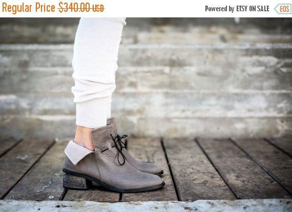 KOOP leren laarzen grijs laarzen handgemaakte laarzen