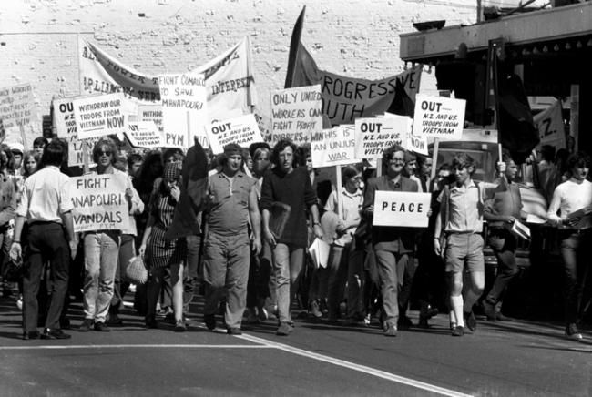 Competing slogans during protest in Wellington, April 1970