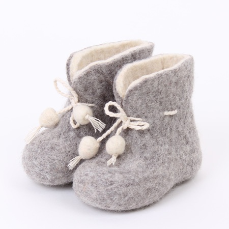 Baby felted home shoes