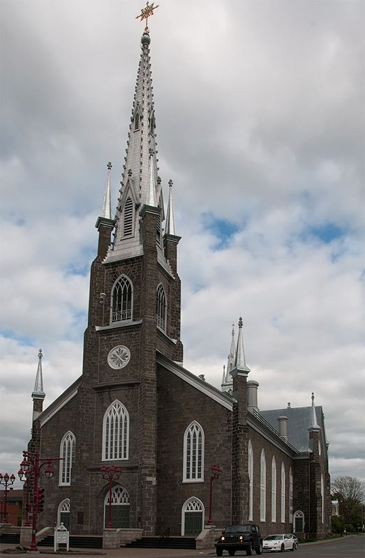View of de Saint-Nom-de-Marie Church, built between 1856 n 1859, located at 60 Note Dame Sud Street in Sainte Marie in Beauce, Quebec_ Canada
