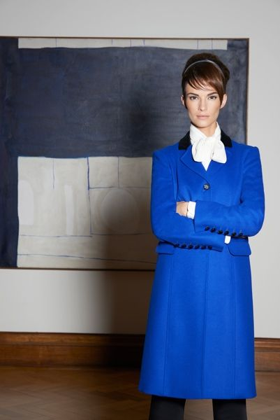 Louise Kennedy - Collection Toni Sapphire Coat/Poppy Ivory Silk Blouse and Capri Black Trs