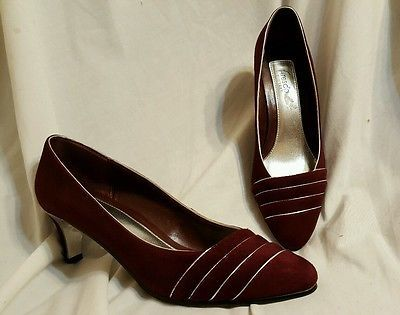 Fresco by myers women's shoes size 9 M Renee burgundy and silver pumps suede