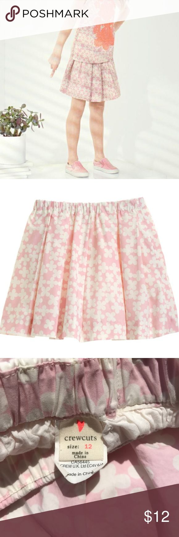 J Crew Girls Crewcuts pleated skirt - clover print J. Crew pink with white clovers print pleated skirt. Very cute skirt which unfortunately has some paint / pen stains from art class!  Fully lined. J. Crew Bottoms Skirts
