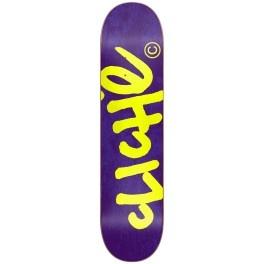 "Cliché Handwritten Purple / Fluo Yellow Skateboard Deck 8.0"""