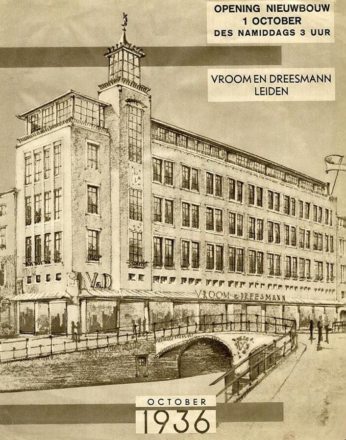 Nieuwbouw Vroom & Dreesman. Aankondiging van de opening op 1 oktober 1936. Het gebouw is ontworpen door Leo en Jan van der Laan.