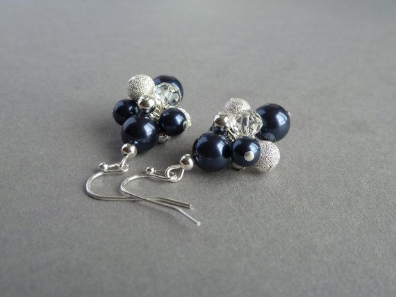 Navy Earrings - Bridesmaid Jewelry - Sparkly Cluster Silver and Dark Blue Pearl Earrings - Midnight Blue Dangle Drop Earrings