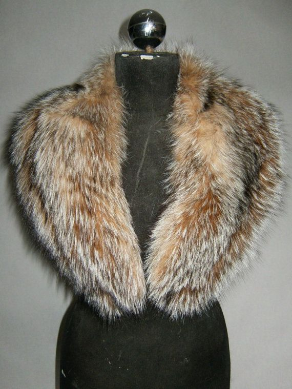 Luxury gift/Fox Fur/ Brown grey Collar  Women's/wedding by skffurs