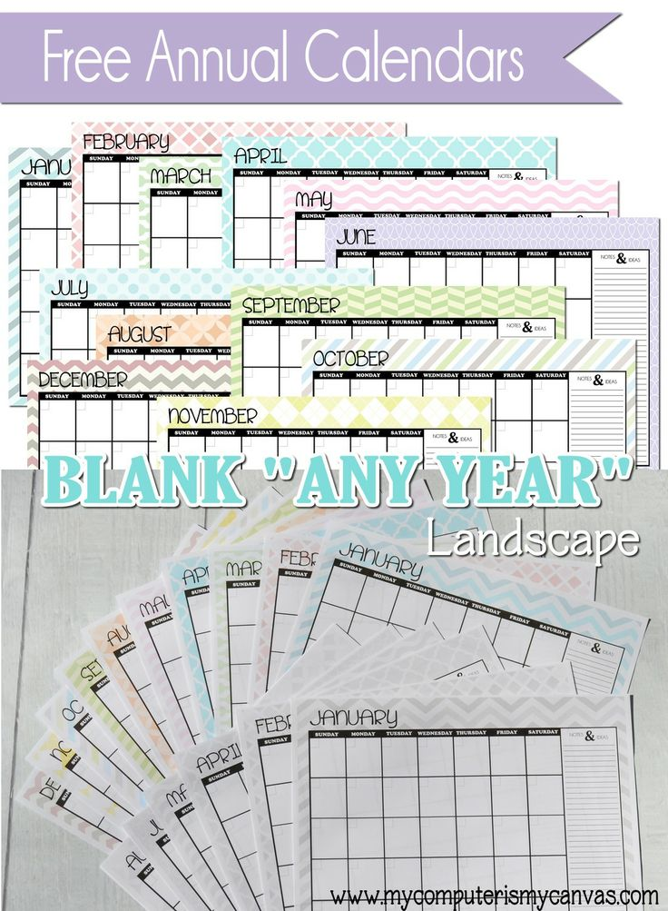 BLANK Printable ANY YEAR Calendars Comes In Multi Color Grayscale Or Plain