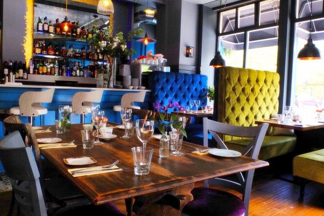Image of Interior for Maison Bleue Le Bistrot, one of the best restaurants in Edinburgh.