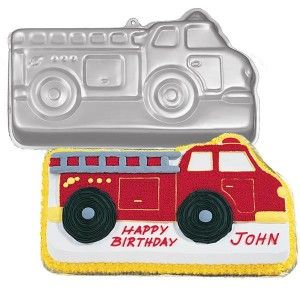 homemade fire truck birthday cake idea