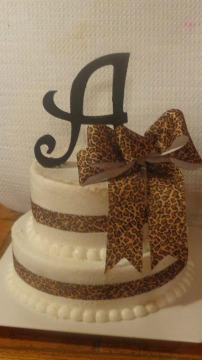 Cheetah cake with the letter A  Lets change that to a L, and we'd be set!