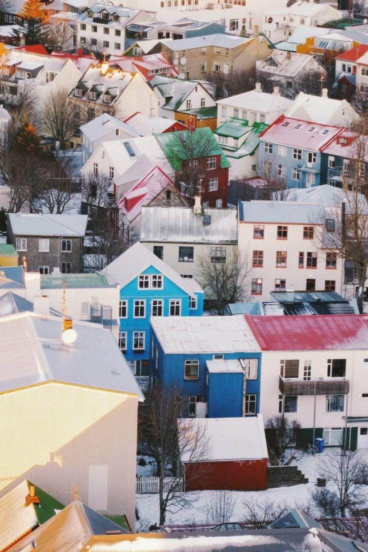 Colorful rooftops in Reykjavík, Iceland.