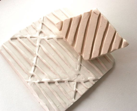 Clay Stamp -- Large Diamond with Deep Stripes -- Texture or Pattern Tool for Ceramics Pottery