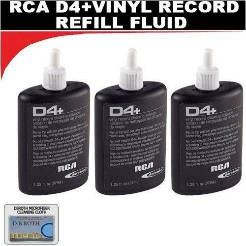 THREE BOTTLES - RCA Discwasher #RD-1046 1.25 oz. D4+ Vinyl Record Cleaning Fluid Refills by Discwasher. $11.97. D4+ fluid is designed to lift contaminants from the record surface - with use of a soft and non-abrasive and unidirectional fibers of the D4+ pad. Together, the D4+ cleaning solution and pad eliminate airborne contaminants, particulate matter, and oily fingerprint smudges that work their way into the record grooves. The contaminants can compromise the audi...