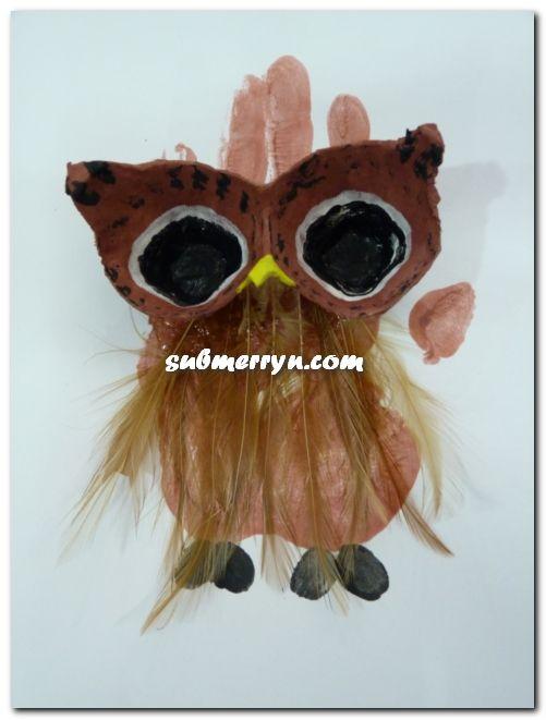 Handprint Egg Carton Owl
