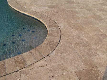 Tumbled Travertine Pool Deck   Deck Favorite  Same Color Coping