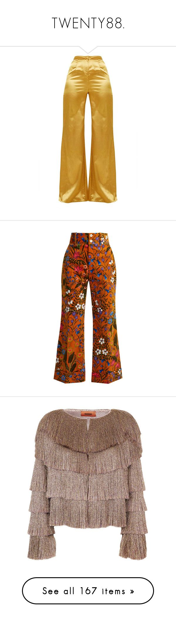 """""""TWENTY88."""" by mxlewi ❤ liked on Polyvore featuring pants, bottoms, wide leg pants, brown wide leg trousers, satin wide leg pants, brown trousers, mustard yellow pants, capris, trousers and gucci"""