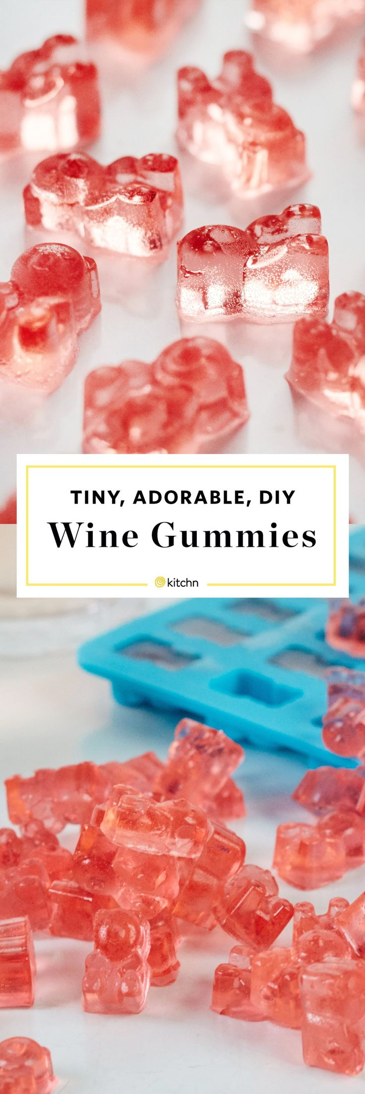 Tiny, Adorable, Homemade DIY Wine Gummies. Use Rose, cabernet, sauvignon blanc, pinot -- whatever you like! Customize this gummy bear recipe with your favorite alcohol as we show you how to make them. Recipes and ideas like this make great gifts or a dessert for valentine's or galentine's day. Easy to make with gelatin, not Jello!