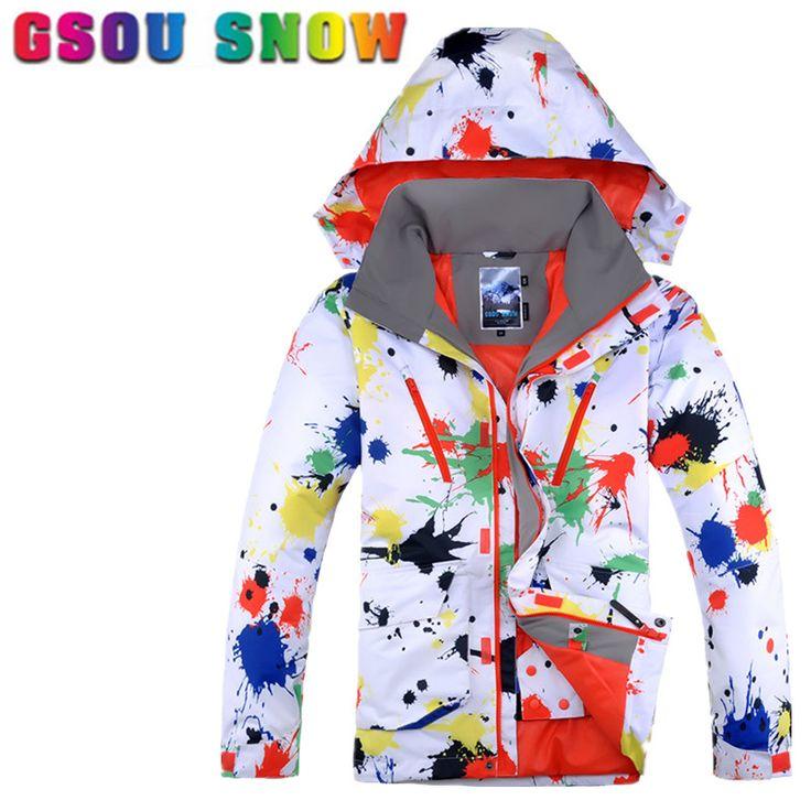 Gsou Snow Ski Jacket Men Winter Waterproof Windproof Snowboard Jackets Graffiti Printed Sports Jackets Cheap Male Skiing Clothes
