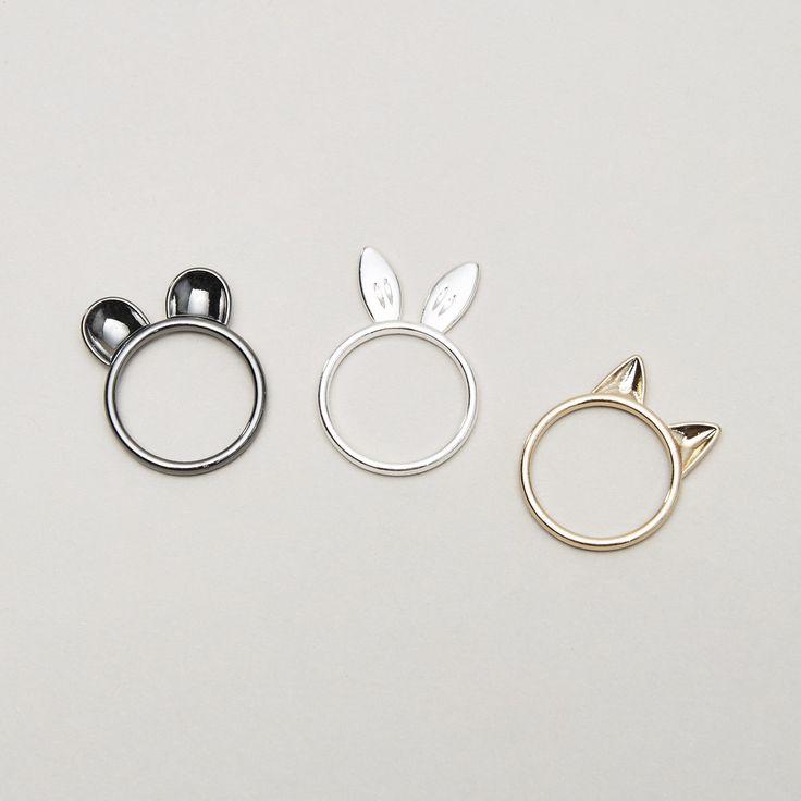 Zestaw pierścionków z uszkami