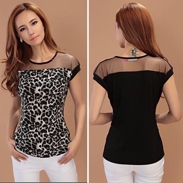 Summer Lady Leopard Sheer Fashion Shirt Crew Neck Short Sleeve Slim Women Blouse Tops