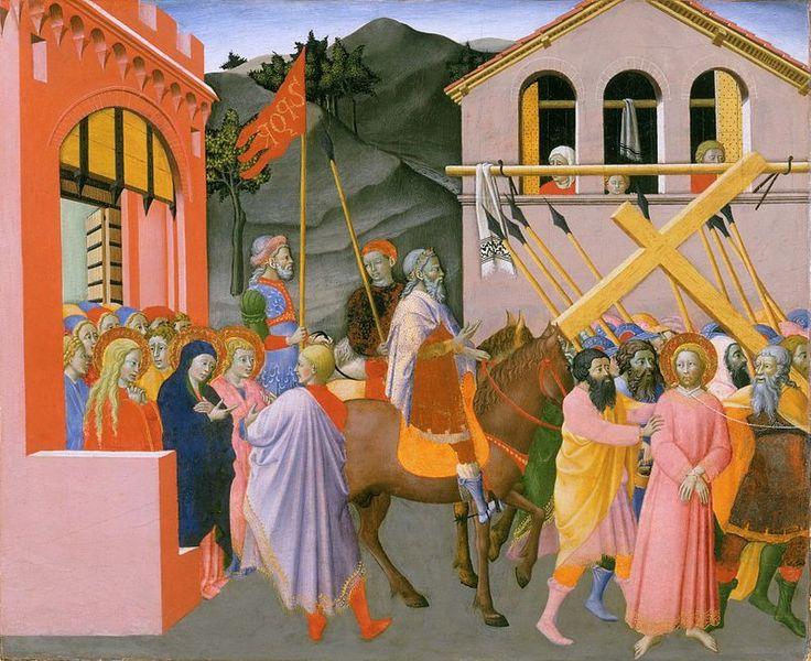 Maestro dell'Osservanza (Sano di Pietro?) - Andata al Calvario - tempera e oro su tavola - Philadelphia, Museum of Art