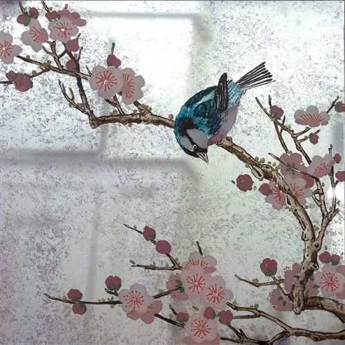 Verre Eglomise Sample: Japanese Blossom Tree & Blue Bird on Lilac Distressed Mirror by Timna Woollard Studio