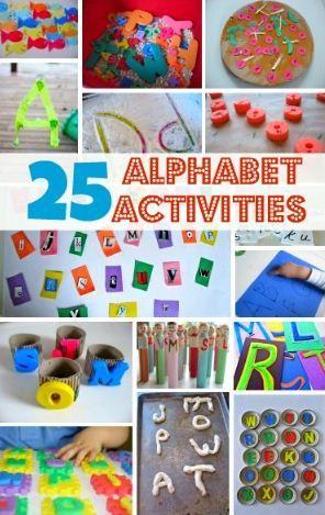 25 Alphabet Activities for Kids (many involving fine motor, matching, etc)