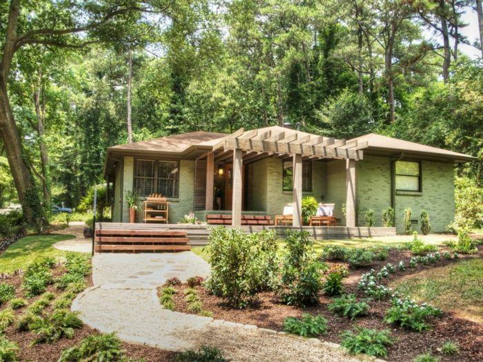 schöner vorgarten mit niedrigen grünen pflanzen gestalten ein, Garten und bauen