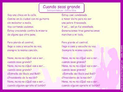 Me encanta escribir en español: Canción: Cuando seas grande (Camila Silva)