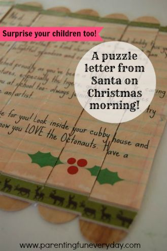 A puzzle letter for Santa on Christmas morning