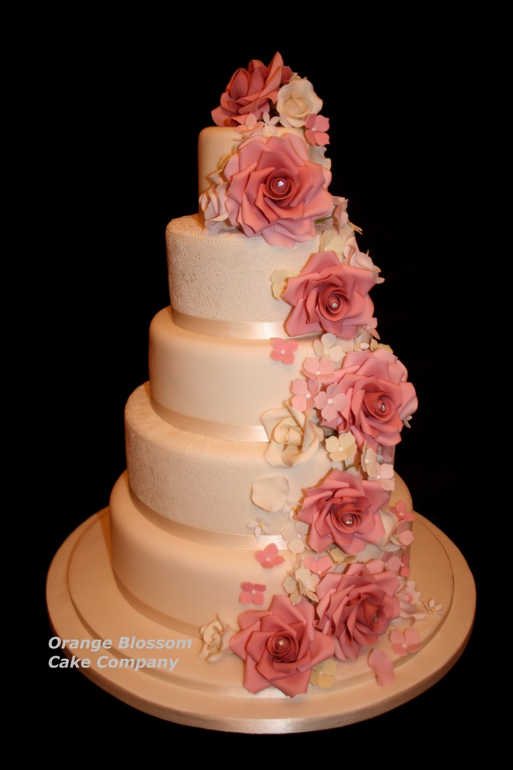 5 tier wedding cake with cascading flowers 5 tier wedding cake with sugar lace and a cascade of sugar 10476