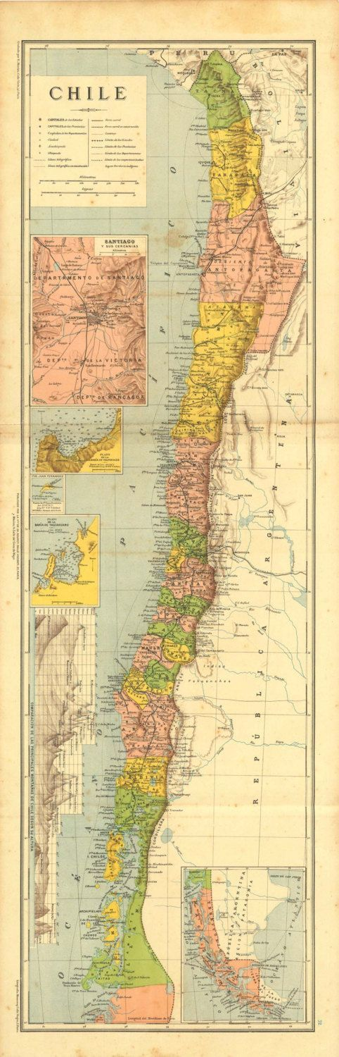 Antique #Map of Chile 1899