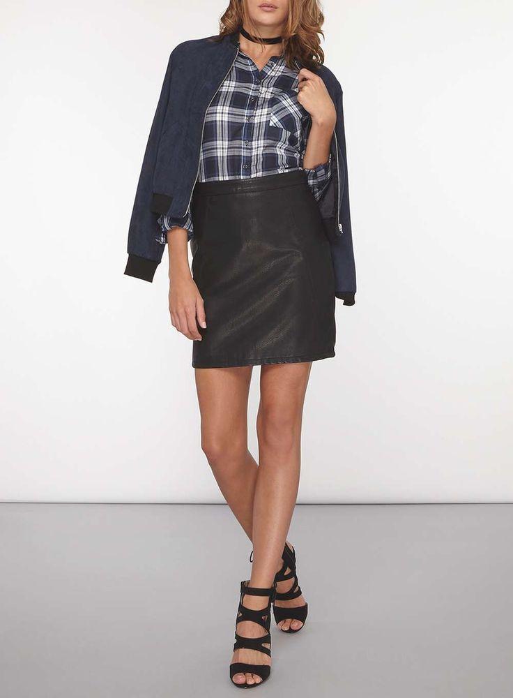 Womens **Tall Black PU Mini Skirt- Black