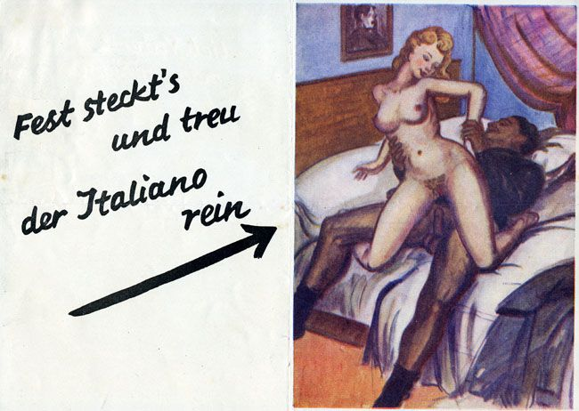 Spanish Civil War propaganda leaflet playing on a very twisted version of die Wacht am Rhein