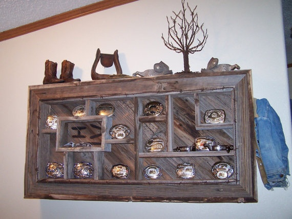 Belt Buckle Display Shelves Shadowbox Made From Reclaimed Rustic Barn Wood, Western Decor $265.00
