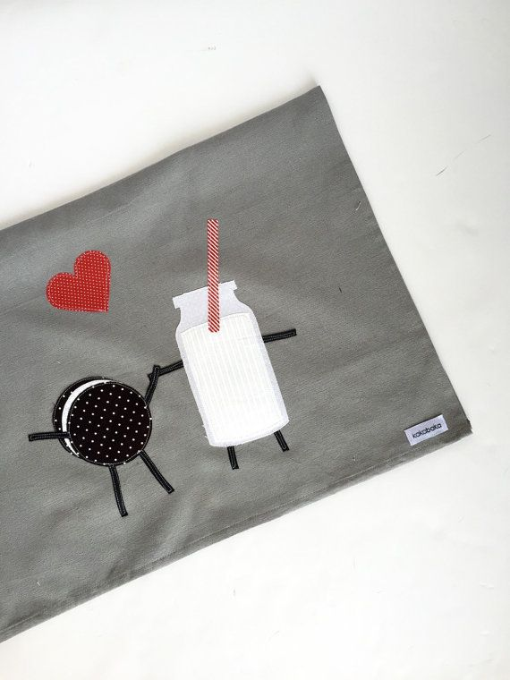 Cookies and Milk Kitchen Towel - Anniversary, Wedding, Housewarming - Applique on Grey Tea Towel