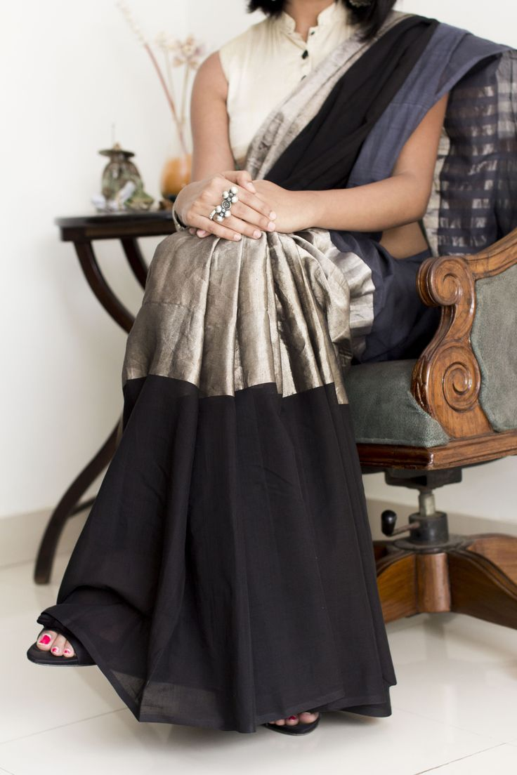 Amodha Black Grey & Silver Saree
