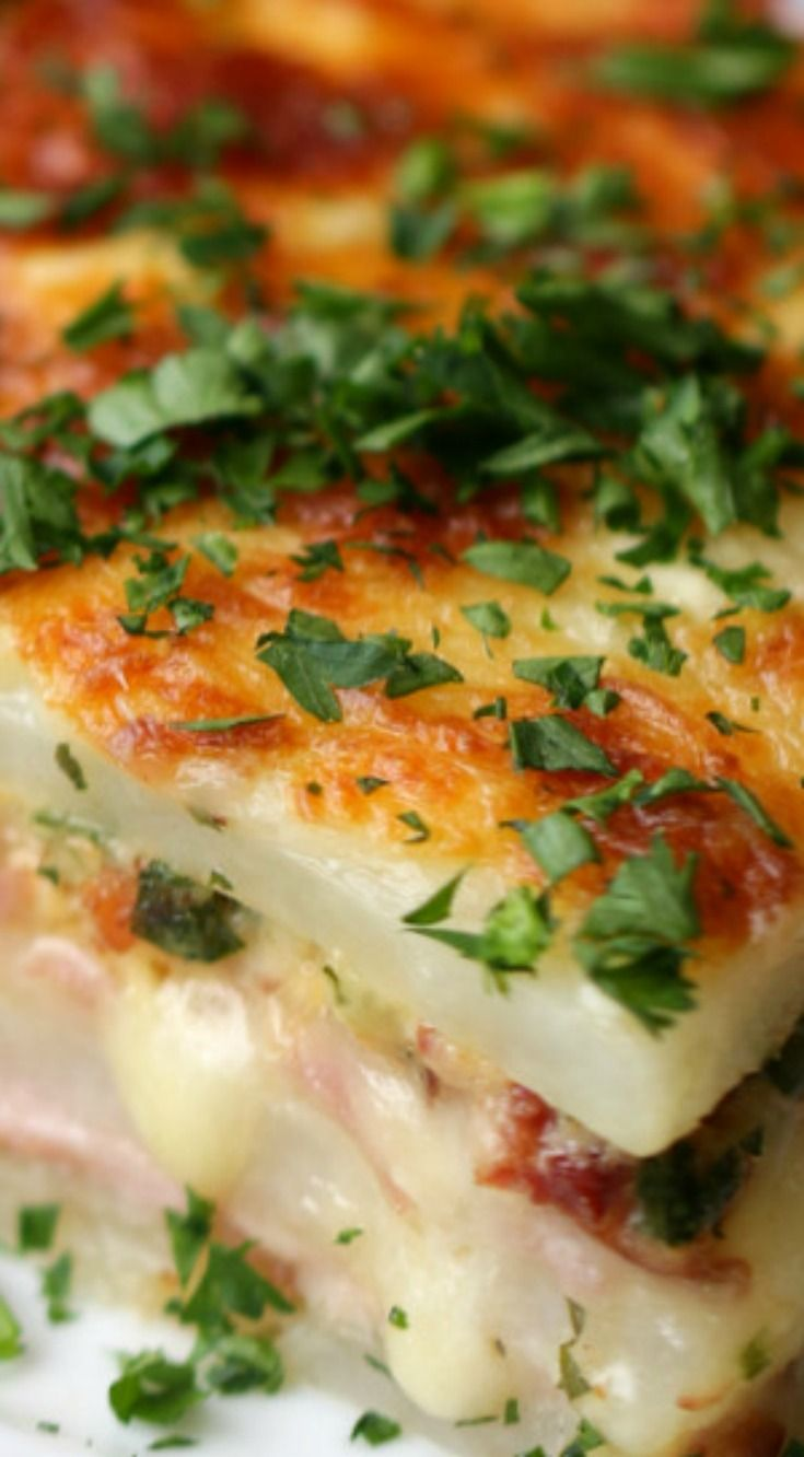 Potato Lasagna ~ Layered Ham And Cheese Potato Bake