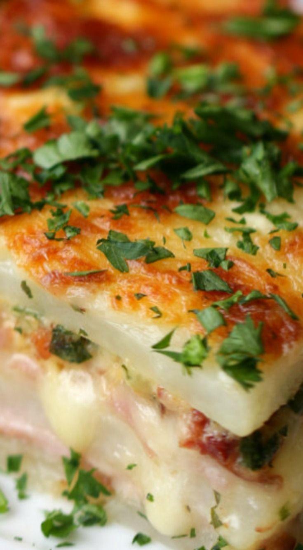 Potato Lasagna ~ Layered Ham And Cheese Potato Bake