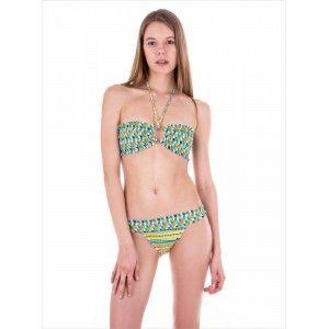 Ayyıldız - Ayyıldız Ff0003-2 Desenli Yeşil Straplez Bikini